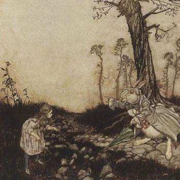 Illustration par Arthur-Rackham, Alice et le lapin, Aventures d'Alice au pays des merveilles de Lewis Carroll, 1908 [détail] © Gallica BnF